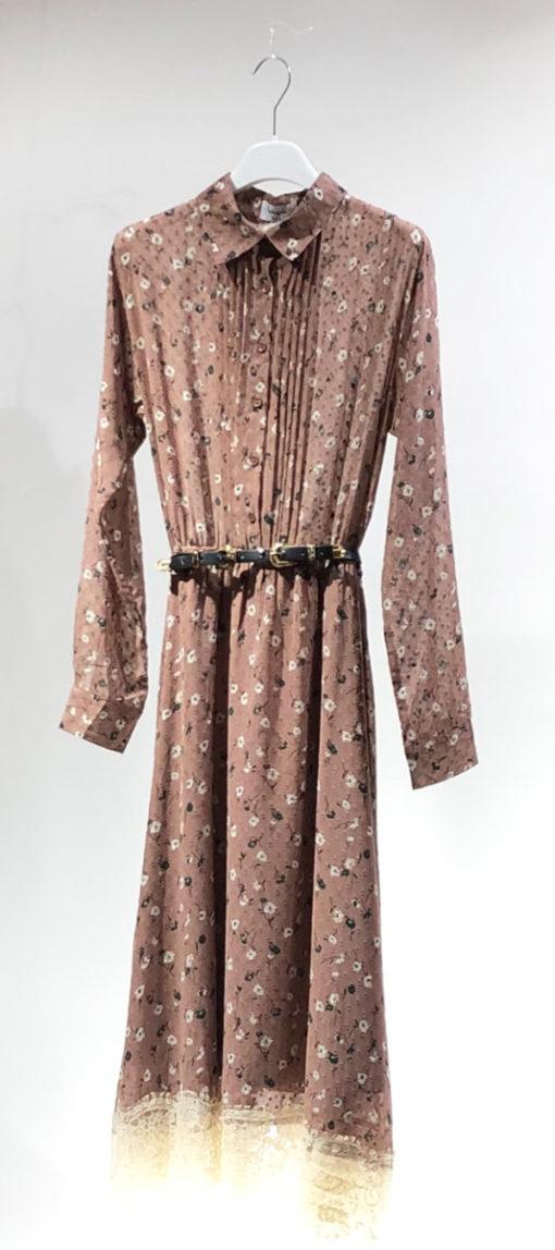 WIYA Blumenkleid Farbe: Dunkelrose - Midikleid - Gürtel