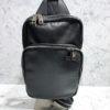 Rucksack Glattleder schwarz | Reißverschluss Fächer