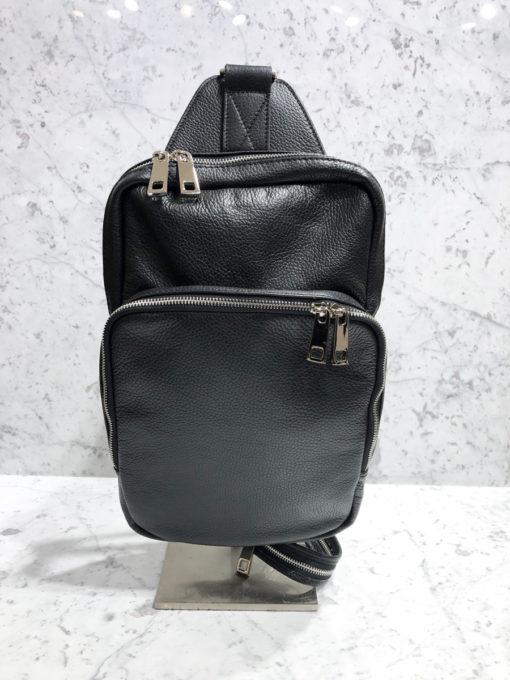 Rucksack Glattleder schwarz   Reißverschluss Fächer